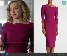 5d230f8db0 Marissa's magenta asymmetric neck dress on Bull. Outfit Details:  https://wornontv