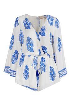 Blue-White Floral Print V-neck Long Sleeve Retro Sexy Short Jumpsuit - Jumpsuit Pants - Bottoms