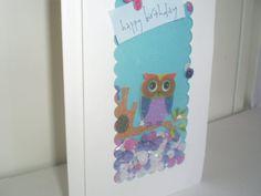 Handmade Birthday Card  Shaker Card With Owl