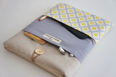 Yellow / Gray Laptop Fabric Case, Macbook Pro, Retina case, Custom Laptop sleeve Padded Notebook PC Cover