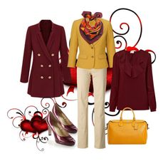 """""""Mustard & Burgundy"""" by josephine-hymes on Polyvore featuring Elie Tahari, Dsquared2, Emily Carter, RED Valentino and Coach"""