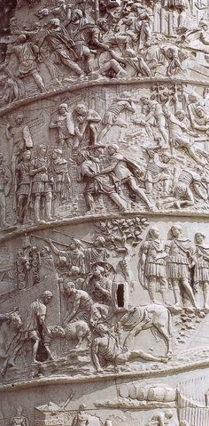Trajan's column, marble.  Rome, Italy.    113A.D.    Commemorating Roman emperor Trajan's victory in the Dacian Wars, completed in 113 AD.