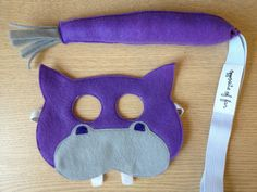 Hippo Mask & Tail Purple  CHILD by oppositeoffar on Etsy, $38.00