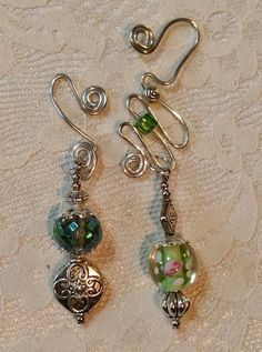 Set of 2 Green Victorian Beaded Charms on Wire by MommaGoesBoho