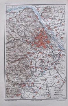 1897 Umgebung von Wien -  alte Karte Landkarte Lithografie old map