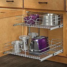 Rev-A-Shelf 21'' x 22''  2 Tier Wire Basket Cabinet Organizer Rack