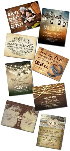 Rustic Save the Date Postcards.  Beautiful Save the Dates!  Easy to customize templates.  Thousands of unique designs to choose from to match the theme of your wedding.