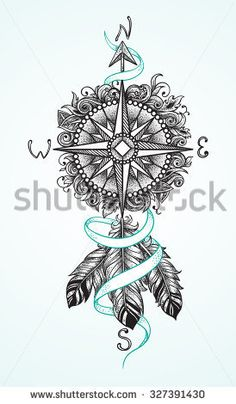 Compass with floral ornaments with ribbon and feathers as a sketch for tattoo