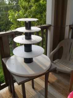 "Homemade wedding cupcake stand! Holds approx. 100 cupcakes and a 6""-8"" cake on top! SO making this!"