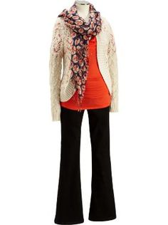 The Crochet Cardigan, Cowl-Neck-Button-Tab Top in Orange Snap, and Maternity smooth panel Skinny Flare Jeans