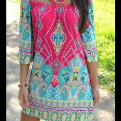 """DEAL OF THE DAYOff the Shoulder Bohemian Dress This NEW, cute Bohemian Mini Dress lays off the shoulder  & features a pretty print with light blue & pink. Runs small, like an XL or 1 X, so check measurements! 44"""" Bust, 44"""" Waist, 43"""" Hips, & 31 3/4"""" Length. The measurements are with the dress stretched out. Polyester material with a silky feel. No trades or PayPal. Price is firm unless bundled.  Boutique Dresses Mini"""