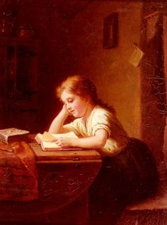 Johann Georg Meyer von Bremen.  Das Lesende Madchen.  (Translated title: Girl Reading).  1884.  Oil on canvas