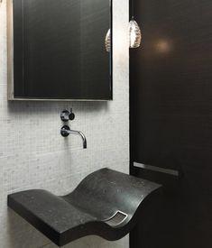 Suzie: Hickman Design Associates - Contemporary powder room with modern black wavy floating ...