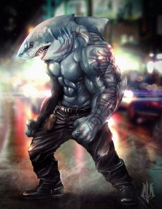 This is the Flash villain King Shark from the cw tv show Fantasy Anime, Fantasy Kunst, Fantasy Art, King Shark, Shark Man, Fantasy Warrior, Fantasy Character Design, Character Art, Mythical Creatures