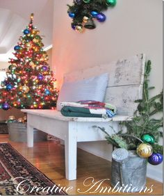 From Creative Ambitions.  Christmas tree in a galvanized tub.