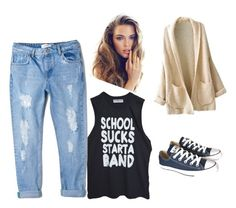 """School or a lazy day"" by simonegarvie on Polyvore featuring MANGO and Converse"