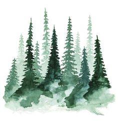 Woodland Trees 1 Art Print 5 x 5 by fercute on Etsy