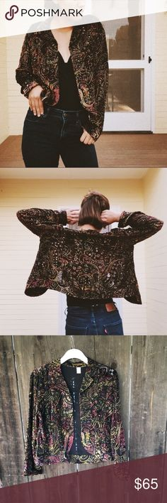 Vintage Embellished Silk Jacket Vintage embellished silk jacket: 32% silk, one of a kind gorgeous jacket!! Slightly sheer. Truly a statement piece! Honestly sad to see it go *tagged free people for exposure! Vintage Jackets & Coats