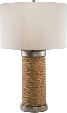 A rope-like wrapped base on the 27 inch tall Owen's Pier Lamp creates an interesting nautical style for any room at your beach or lake cottage!