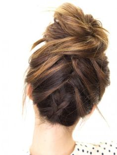 Tuxedo braid messy bun is a must-try.