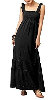bohemian black lace dress | Gamiss Women's Casual Wear Lace Flouncing Bohemian Style ...