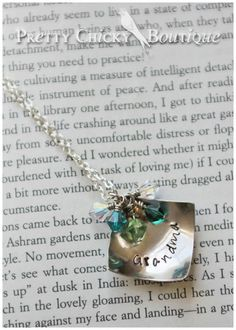 This is a great Grandma's necklace! Each birthstone represents a very special grandchild! Find your's at the Pretty Chicky Boutique!#metal Stamped jewelry www.facebook.com/...
