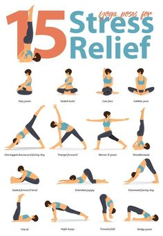 15 Yoga Poses for Stress To help with stress relief you can start with the bridge pose. Hatha Yoga Poses, Yoga Bewegungen, Sleep Yoga, Yoga Pilates, Easy Yoga Poses, Yoga Poses For Beginners, Yoga Sequences, Vinyasa Yoga, Yoga Flow