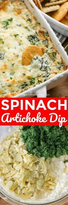 Spinach Artichoke Dip is an appetizer recipe that absolutely loves. A creamy cheesy base loaded with spinach, a bit of garlic and of course marinated artichokes. Dip Recipes, Cooking Recipes, Healthy Recipes, Potato Recipes, Vegetarian Recipes, Recipies, Yummy Appetizers, Appetizer Recipes, Dinner Recipes