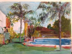 Nota . La piscina Painting, Note, Pools, Gardens, Painting Art, Paintings, Painted Canvas, Drawings