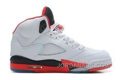 http://www.jordanabc.com/air-jordans-5-retro-white-fire-redblack-for-sale.html AIR JORDANS 5 RETRO WHITE/FIRE RED-BLACK FOR SALE Only $90.00 , Free Shipping!