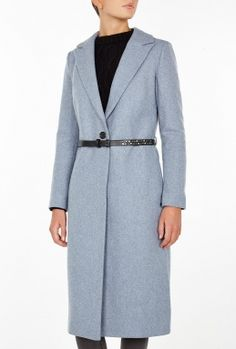 Blue Single Breasted Belted Coat by Maison Scotch