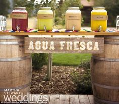 Colorful affair: Partygoers sipped on fresh juices and horchata, a traditional Mexican rice drink, on the first evening of the wedding celeb...
