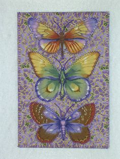 Butterflies Art Quilt Postcard  4 x 6 Pastel Colors. $6.00, via Etsy.