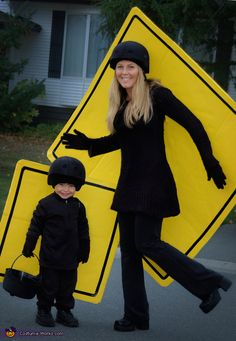 Creative Costume Idea - Pedestrian Crosswalkers and Family Halloween Costume Ideas on Frugal Coupon Living Many more crafty and DIY Halloween Costume Ideas for the family or multiple people.