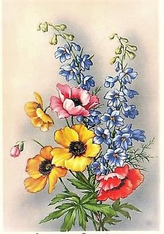 (30) Gallery.ru / Фото #108 - 16 - Fyyfvbwrtdbx1957 Watercolor Flowers, Watercolor Paintings, Rose Stencil, Jar Art, Motif Floral, Colorful Drawings, Pictures To Paint, Botanical Art, Fabric Painting
