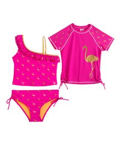 Let your little minnow splash the day away in this charming set that boasts a flamingo-approved tankini for sweet, summery style. A matching rashguard protects sensitive skin from irritants.
