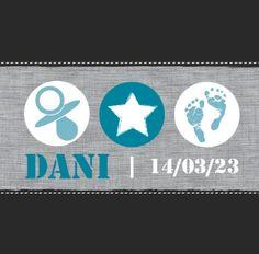 Geboortekaartje Dani www.hetuilennestje.nl Linnen, speen, ster, babyvoetjes.