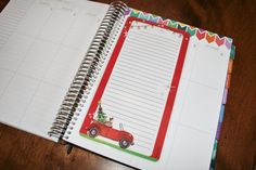 Christmas / Holiday coil clip in dashboard or bookmark for Erin Condren Life Planner, Limelife and Plum Paper Design