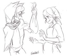 """""""No need to thank me, Princess~""""      """"Thank you? Oh yes, that's definitely what I was going to do""""  Interactions between the prince and the soldier; the thief and the seamstress from my Medieval AU"""