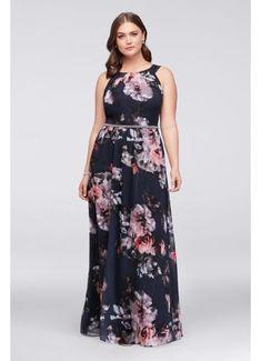 f14fabf4c10d Floral Plus Size Halter Dress with Beaded Belt SL671125 Peplum Dresses