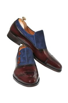 Handmade Bordeaux and Blue Men Shoes – Ustabas Shoes