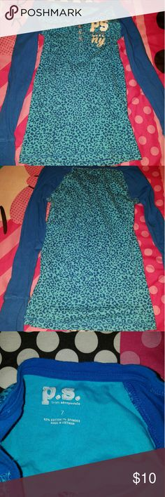 P.S. AEROPOSTALE GIRL SHIRT Long sleeve dark/light blue girls shirt Shirt is long  Used and in good condition Aeropostale Shirts & Tops Tees - Long Sleeve