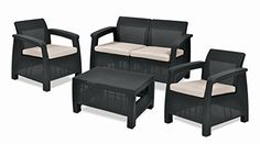Keter Corfu Garden Furniture Graphite Set (2 Armchairs, Sofa and Table) with…