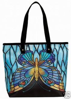 Stainglass look Butterfly Tote