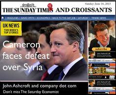 The Sunday Times and Croissants, Ex Tory Prime Minister in love child shock, plus Cameron faces defeat over Syria