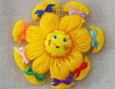 The sun amulet for the Солнышко-оберег для ребёнка The sun amulet for the child - Yarn Crafts For Kids, Sun Crafts, String Crafts, Fish Crafts, Diy Arts And Crafts, Yarn Dolls, Fabric Dolls, Cutlery Art, Pipe Cleaner Crafts