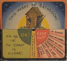 Vintage Hillbilly Outhouse This Here's Th' Bathroom Occupied Sign OK! Keep Out! 1941 on Etsy, $7.00