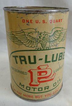 ~~TRU-LUBE MOTOR OIL EMPTY METAL QUART CAN~~  L@@K!!  | eBay
