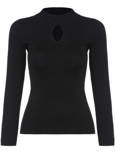 Black Stand Collar Hollow Slim Knitwear 16.14