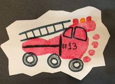 *Sent to the fire department with all of the kids fire feet as a thank you for their demonstration.* Fire Truck Foot Print Art